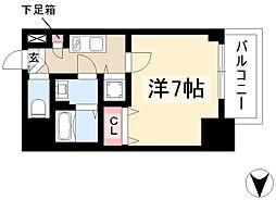 エスプレイス鶴舞ガーデンテラス 13階1Kの間取り
