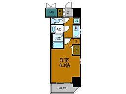 エステムコートディアシティWEST 9階1Kの間取り