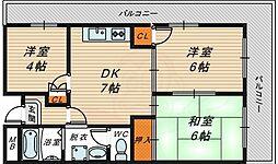 パラッツオ京橋 5階3DKの間取り
