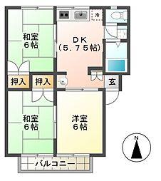 ライブタウン横道 A棟[2階]の間取り