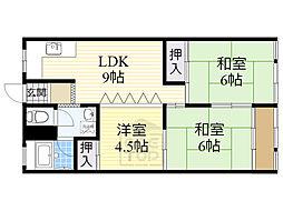 高倉第二コーポ 5階3LDKの間取り