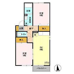 セジュール御堂の上E[2階]の間取り