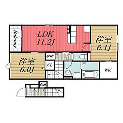 北総鉄道 印西牧の原駅 徒歩28分の賃貸アパート 2階2LDKの間取り