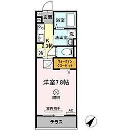バス 大和町下車 徒歩5分の賃貸アパート 1階1Kの間取り