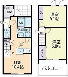 Luana(ルアナ)レジデンスA 2階2LDKの間取り