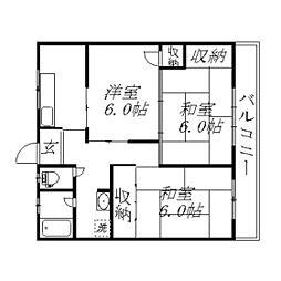 静岡県浜松市中区蜆塚2丁目の賃貸アパートの間取り