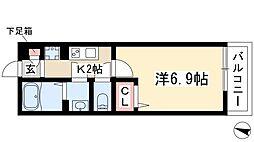 リブリ・覚王山I 3階1Kの間取り