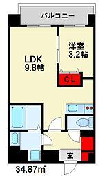 メゾンドボヌール 6階1LDKの間取り