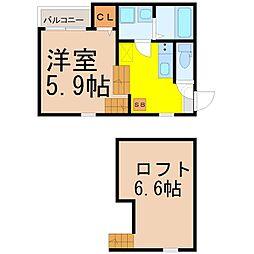 ハーモニーテラス二番II[1階]の間取り