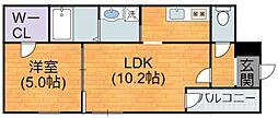 JR関西本線 平野駅 徒歩8分の賃貸アパート 2階1LDKの間取り