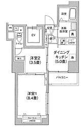 アイル プレミアム文京六義園 8階2DKの間取り