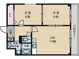 新大阪パークハイツ[11階]の間取り