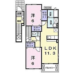 鹿児島県南さつま市金峰町尾下の賃貸アパート 2階2LDKの間取り