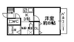 兵庫県宝塚市売布2丁目の賃貸アパートの間取り