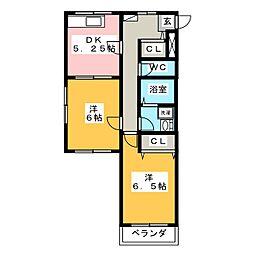 ガーディアン上小出[2階]の間取り