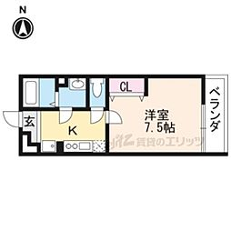 JR山陰本線 円町駅 徒歩8分の賃貸アパート 3階1Kの間取り