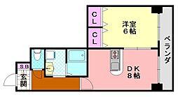 コーラルハイツ平野[203号室]の間取り
