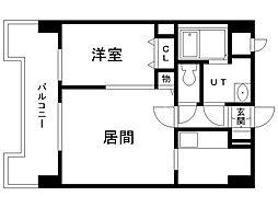 UURコート札幌北三条 14階1LDKの間取り