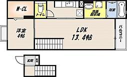 L'iLL登町 4階1LDKの間取り