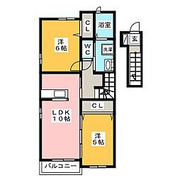 ヌーベルバーグII B[2階]の間取り