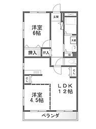 東京都八王子市狭間町の賃貸マンションの間取り