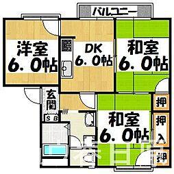 福岡県大野城市つつじケ丘1丁目の賃貸アパートの間取り