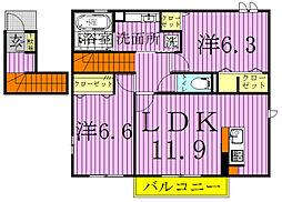 千葉県野田市岩名2丁目の賃貸アパートの間取り