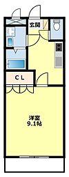 愛知県みよし市三好町折坂の賃貸アパートの間取り