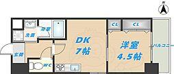 スタシオン俊徳道 7階1DKの間取り