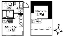ハーミットクラブハウス三ツ沢中町(仮) 2階ワンルームの間取り