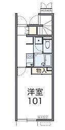 埼玉県新座市野火止3丁目の賃貸アパートの間取り