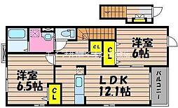 岡山県倉敷市玉島爪崎の賃貸アパートの間取り