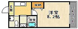 京都府京都市山科区椥辻西浦町の賃貸マンションの間取り