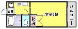 岡山県岡山市北区南方5丁目の賃貸マンションの間取り