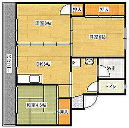 ビレッジハウス直方東 3号棟[205号室]の間取り