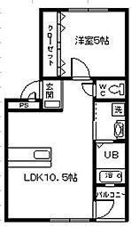 愛知県碧南市野田町の賃貸アパートの間取り