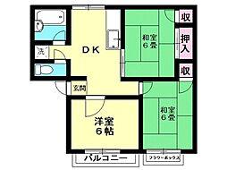 西富田パークハイツA[105号室号室]の間取り