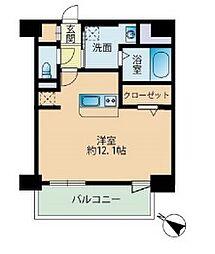 福岡市地下鉄七隈線 薬院大通駅 徒歩4分の賃貸マンション 11階ワンルームの間取り