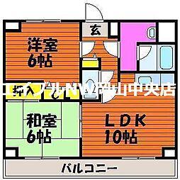 岡山県岡山市中区国富の賃貸マンションの間取り