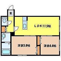 北海道札幌市北区北三十条西8丁目の賃貸マンションの間取り