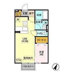 茨城県水戸市愛宕町の賃貸アパートの間取り