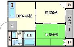 ハイツ東野 3階2DKの間取り