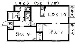 ガーデンコート丹南[101号室号室]の間取り