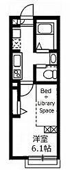 JR中央本線 国立駅 徒歩14分の賃貸アパート 2階1Kの間取り