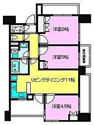 千葉県船橋市宮本3丁目の賃貸マンションの間取り