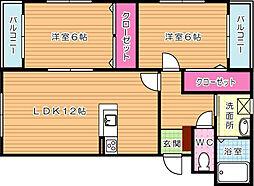 プレステージ木屋瀬[2階]の間取り