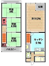 Osaka Metro今里筋線 清水駅 徒歩3分の賃貸一戸建て 1階4Kの間取り