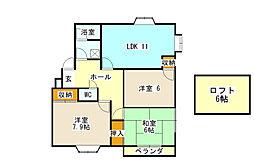 神奈川県横浜市金沢区高舟台1丁目の賃貸アパートの間取り