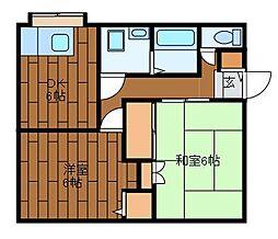 芳賀アパート[201号室]の間取り