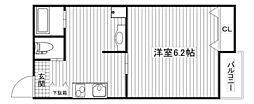 エムステージ新大阪 2階1Kの間取り